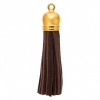 Faux Suede Tassels Gold Cap 5.5cm Brown (20pcs)